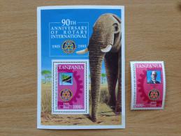 Tanzania 1995 Rotary CLub International Elephant Elefant 1 Stamps + 1 Souvenir Sheet MNH** - Tansania (1964-...)