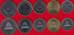 Nicaragua Set Of 5 Coins: 10 Centavos - 5 Cordobas 2014-2015 UNC - Nicaragua