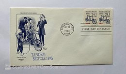 """US, FDC """"ARTMASTER SERIES"""" & STORY ON REAR ,,TANDEM BICYCLE 1890'S REDMOND , WA BKL OF 2 24.1CENTS - Premiers Jours (FDC)"""