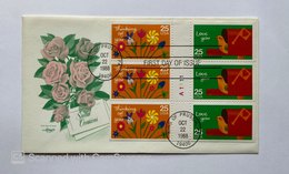 """US, FDC """"ARTMASTER SERIES"""" & STORY ON REAR ,,SPECIAL OCCASIONS , FLOWERS 1988KING OF PRUSSIA BKL OF 6 25CENTS - Premiers Jours (FDC)"""