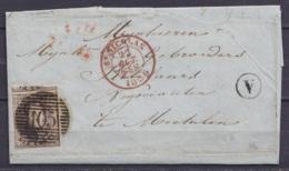"""L. Datée 21 Octobre 1856 De St Gillis Affr; N°6 P105 Càd ST-NICOLAS /22 OCT 1856 Pour MECHELEN - Boîte """"V"""" (au Dos: Càd - 1851-1857 Médaillons (6/8)"""