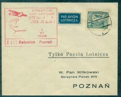 POLOGNE  PA N° 5  1 Er VOL KATOWICE / POZNAM 1.6.1929  Arrivée Au Verso TB Rare . - Airmail