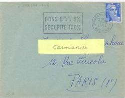 STRASBOURG-GARE BAS-RHIN OMec SECAP FLAMME GAUCHE Du 7-5-1954 BONS P.T.T. 6% / SECURITE 100% - Oblitérations Mécaniques (flammes)