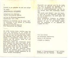 Devotie Doodsprentje Overlijden - Oudstrijder Josephus Stoops Echtg Maria Smets - Kasterlee 1891 - Turnhout 1975 - Décès
