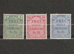 Lot 3 Timbres Allemagne Deutsches Reich - Frei Durch Ablösung Nr 21 Année 1903 - Charnière Au Dos 1903 Mi D3 - D 4 - D5 - Germania