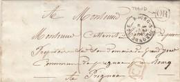 LETTRE. 11 AOUT 1850. GIRONDE. BOURG-S-GIRONDE. ORIGINE RURALE OR = THAUD POUR PRIGNAC. TAXE PLUME 1 - Marcofilia (sobres)