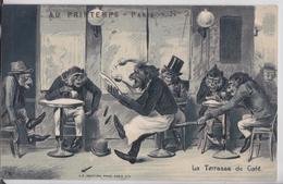Singe Animal Habillé Au Printemps Paris N°2 La Terrasse De Café Cigare Pipe Garçon Bistrot Cpa Gaufrée KF Editeur - Scimmie