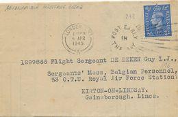 AVIATION MILITAIRE BELGE - AVIS DE PAYEMENT PRIME DE VOL - LONDRES - Lettre PILOTE ROYAL AIR FORCE RAF Kirton On Lindsay - Guerre 40-45