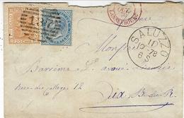 1878- Enveloppe Affr. 20 + 10 C. De  SALUZZO  Chiffra 137 Pour La France - Poststempel