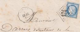 LETTRE. FRAGMENT. CONVOYEUR STATION. PAS-DE-CALAIS ACHET. LIGNE 26. AM.AR. AMINS ARRAS. N° 60 GC 174 ARRAS - 1849-1876: Periodo Classico