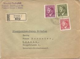 LETTRE RECOMANDEE  DE KREMSIER . . POUR GENERALGOUVERNEMENT DE KRACAW - 1939-44: World War Two