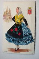 Cpa Brodée Espagne Burgos  Illustrateur Eloi Gumien - Brodées