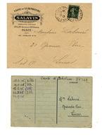 Chocolat Salavin Carte D'acheteur 1946 Et Enveloppe 1917 - Alimentos