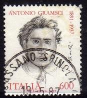 ITALIA REPUBBLICA ITALY REPUBLIC 1987 ANTONIO GRAMSCI DISEGNATO DA GIACOMO MANZU' LIRE 600 USATO USED OBLITERE' - 1981-90: Usados