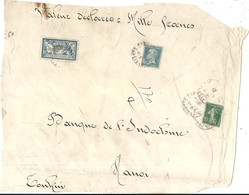 DEVANT DE COLI .VALEUR DECLAREE .POUR BANQUE INDOCHINE HANOI .TONKIN .TIMBRE 5 FRS MERSON - Marcophilie (Lettres)