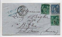 - Lettre EPICERIE BELLEVILLE, ANNECY Pour BIGLEN Via GENEVE (Suisse) 10 OCT 1883 - Bel Affranchissement Type Sage - - Marcophilie (Lettres)