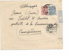 SH 0448. N° 63-66 Obl. Ovale S/Lettre Vers GENEVE 1915 - Bureau Des Correspondances. Au Dos Censure De  St PETERSBOURG. - Lettres & Documents