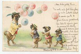 """CPA.chiens Humanisés.animaux Habillés.  """" Le Marchand De Ballons. """"                              .E.82 - Dressed Animals"""