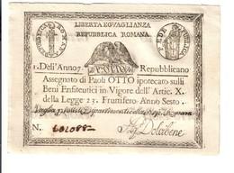 1à Repubblica Romana Assegnati 1798 Otto 8 Paoli Dell'anno 7 Bel Sup Lotto.3150 - [ 1] …-1946 : Royaume