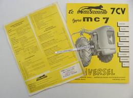 Motostandard MC7 MC 7 Motoculteur Dépliant Original 2 Feuilles 4 Pages Tracteur Agriculture Matériel Agricole - Tracteurs