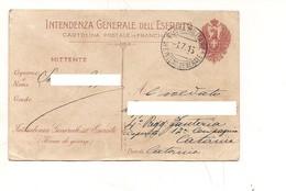 3447) Franchigia Militare POSTA INTENDENZA GENERALE ESERCITO LIBIA 1916 - Franchigia