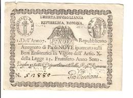 PONTIFICIO REPUBBLICA ROMANA ASSEGNATI 9 PAOLI 1798 ANNO 7° BB/SPL LOTTO 3152 - Italië