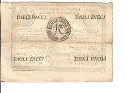 PONTIFICIO REPUBBLICA ROMANA ASSEGNATI 10 PAOLI 1798 ANNO 7° RETRO Cerchio LOTTO 3154 - Italien