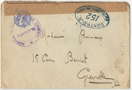 D  191... Lettre Censurée En FM  152 Hopital Temporaire De Luxeuil Figurine Lapin Et Baluchon - WW I