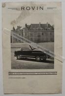 Microcar ROVIN Roadster 3CV Feuillet Publicitaire Recto Verso 1 Page No Isetta Messerschmitt Vespa 400 - Automovilismo
