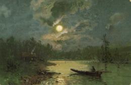 Illustrateur Barque Sur Un Lac Pleine Lune  RV - Peintures & Tableaux