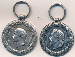 J91 - 2 Médailles En Argent - Campagne D'Italie Napoléon III - 1859 -  Poids 27 Gr - Médailles & Décorations
