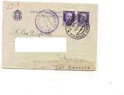 3570) Biglietto Postale 50c Imperiale + Gemello SOVRASTAMPATO PM  24-1-45 PALERMO CATANZARO - Marcofilía