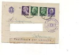 3571) Biglietto Postale 50c Imperiale + 25cx2 SOVRASTAMPATO PM  + £1 11-5-45 PALERMO CATANZARO - Marcofilía