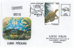 COV 61 - 916 TURTLE & Wild Boar, Romania - Cover - Used - 2010 - Tortues