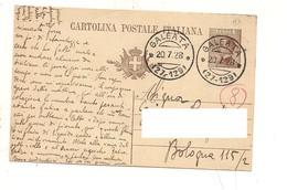 3606) Annullo Frazionario GALEATA 27-129 1928 INTERO POSTALE - Storia Postale