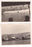 NAVE NON IDENTIFICATA  - BOAT - GENOVA - 2 FOTO ORIGINALI 1957 - Barche