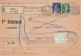 Schweiz Einzugsmandat Privatganzsache 1920 Badaracco Lugano Mendrisio Helvetia Mit Schwert 25 Rp & Zusatzfrankatur (r21) - Entiers Postaux