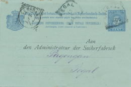 Nederlands Indië - 1900 - 5+5 Cent Cijfer, Briefkaart G11a Particulier Bedrukt Dunkerbeck & Co Van Soerabaja Naar Tegal - Netherlands Indies