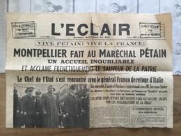 Journal L'éclair Visite Du Maréchal Pétain à Montpellier 14 Février 1941 - 1939-45