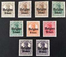 1916 Germania**) Mit Aufdruck Belgien (Wertangabe Cent.) Mi.10, 11a, 11b, 12I, 12II, 13aI, 14a, 15bI - Occupation 1914-18