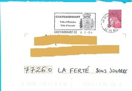 Flamme Châteaubriant Ville D'histoire D'avenir Loire Atlantique Blason Armoiries Marianne Luquet - Marcofilie (Brieven)