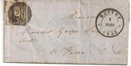 BRIEF D28 METTET-N°6-BESTEMMING FOSSE-01 MARS 1858-AANKOMST 02 MARS-LAATSTE JAAR AFSTEMPELING N°6 - 1851-1857 Médaillons (6/8)