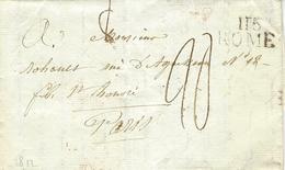 1812- Territoires Conquis - 116 / ROME  26 Mm Noir Taxe 20 D.  Pour  Paris - - 1792-1815: Conquered Departments