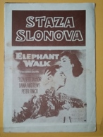 Prog 1 - ELEPHANT WALK, Elizabeth Taylor, Dana Andrews, Peter Finch, YUGOSLAWIA PROSPECTS 17X25 CM - Cinema Advertisement