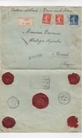 LETTRE. 20 5 13. RECOMMANDÉ CHARGÉ 200 Fr. PARIS POUR VRECOURT VOSGES PAR NEUFCHATEAU. 5 CACHETS CIRE - 1877-1920: Semi Modern Period