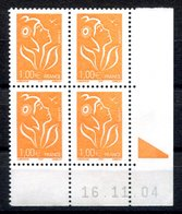 RC 16884 FRANCE N° 3739 COIN DATÉ MARIANNE DE LAMOUCHE 16.11.04 NEUF ** TB MNH VF - Coins Datés