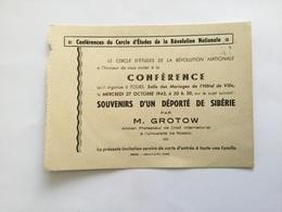 Carte Conférence Cercle étude De La Révolution Nationale Deporte De Sibérie 1943 état Français - 1939-45