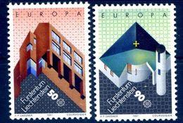 (!) Timbres EUROPA CEPT LIECHTENSTEIN De 1987  N° Y&T  859/860 Thème Architecture  Neuf(s) ** Mnh LUXE - 1987