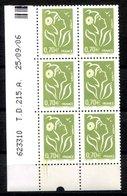RC 16902 FRANCE N° 3967 COIN DATÉ MARIANNE DE LAMOUCHE 25.09.06 PHIL@POSTE VARIÉTÉ D'ESSUIAGE EN BAS NEUF ** TB MNH VF - Coins Datés