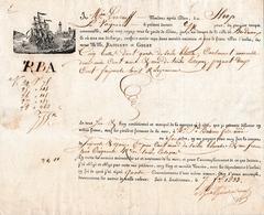 """1833 - Connaiss. LANDERNEAU-BORDEAUX - Sloop """"La Virginie"""" - Toiles Blanches & Estopées - Documents Historiques"""